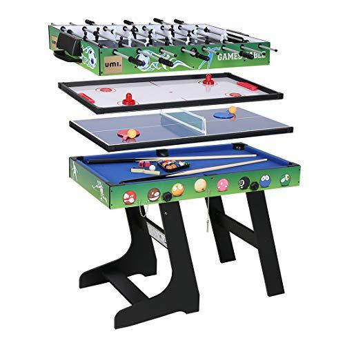 Umi. Essentials Zusammenklappbar 4 in 1 Tischspiel Kickertisch Tischfußball für Fußballspiel/Hockey/Tischtennis/Pool(Billard)