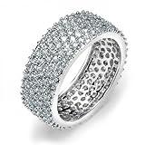 Pave Cubic Zirconia 5 File Larghe CZ Wedding Eternità Anello Fascia per Donne per La Ragazza 925 Sterling Argento
