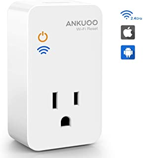 Ankuoo Router Reset Plug WiFi Smart Socket Auto Monitor and Restart Modem/Access Points if Wi-Fi Fails Works with Remote Control and Timer Via REC APP,one Pack, 1.75 x 3 x 2.25 inch, White