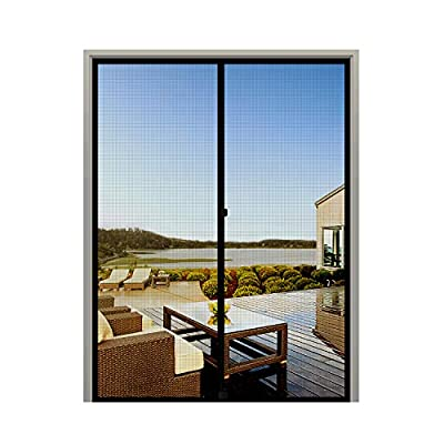 "MAGZO Screen Door Magnets 48 x 96, Durable Fiberglass Double Door Mesh with Full Frame Hook&Loop Fits Door Size up to 48""x96"" Max-Black"