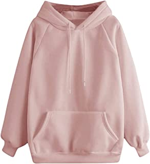 Women's Hooded Pocket Sweatshirt Casual Solid Color Long Sleeve Pullover E-Scenery