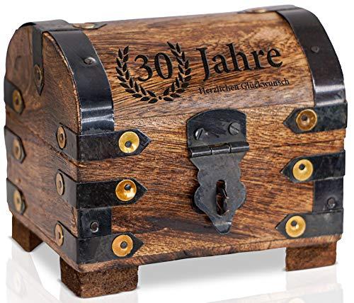 Brynnberg - piraten schatkist klein jaar hartelijk felicitatie - verjaardagscadeau + jubileum - kist van hout donker met gravure