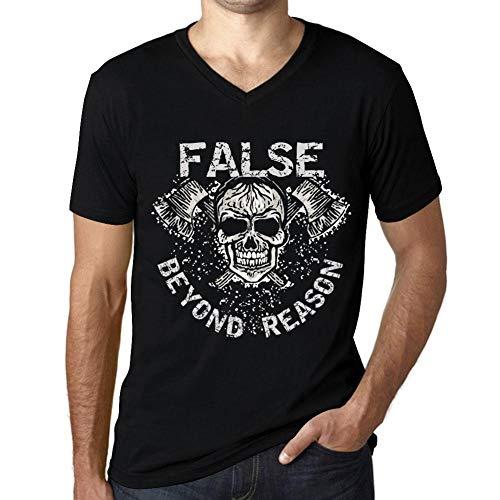 One in the City Hombre Camiseta Vintage Cuello V T-Shirt Gráfico False Beyond Reason Negro Profundo