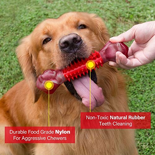 Tough Dog Toys for Aggressive Chewers Large Breed, Apasiri Dog Chew Toys, Durable Dog Toys, Dog Bones Made with Nylon and Rubber, Big Indestructible Dog Toy, Medium Puppy Chew Toys Teething chew Toy