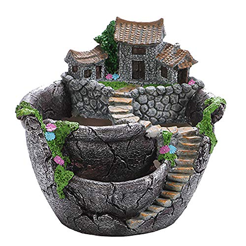 PandaLily Gardening Supplies Tools Resin Succulent Plant Bonsai Flower Pot Garden Planter Office Home Holder Decor Garden Gifts for Gardener Men & Women Silver