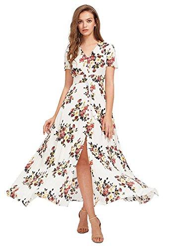Milumia Women Floral Print Button Up Split Flowy Party Maxi Dress (L, Multicolor-White-3)