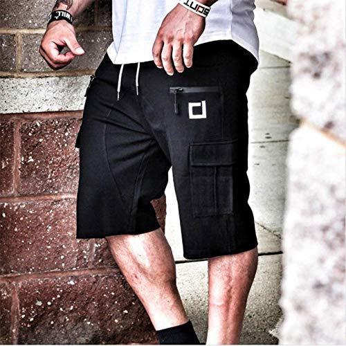 Kurz Hose Herren Shorts Wadenlange Turnhallen Fitness Bodybuilding Casual Joggers Workout Marke Sport Kurze Hosen Jogginghose Sportswear M Schwarz