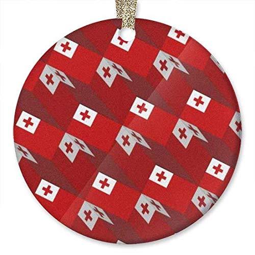 QgjayjqQ Tonga-Flagge, 3D-Kunst-Muster, Ornament (r&), personalisierbar, Keramik, Feiertag, Weihnachten, Ornament, Ideen 2019