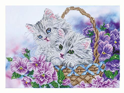 Diamond Dotz Kitty Basket Kit Hobby creativi, Resina, Bianco, 52 x 38 cm