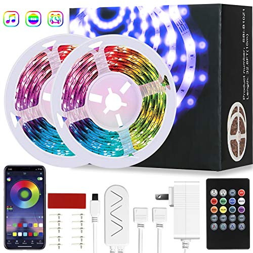 LED Strip Lights 50ft 15M with APP Bluetooth Control RGB Smart LED Light Strip Music Sync Color Lights 12V Power Supply Flexible Color Changing for Home, Bedroom, Kitchen,DIY Decoration (SO529-15M)