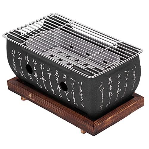 Parrilla de barbacoa de estilo japonés Mini estufa de carbón de barbacoa para el hogar con base de madera Hibachi para Yakiniku Takoyaki Camping (Sin platos)