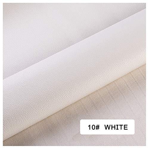 ZHhome Tejido De Cuero Artificial, Material De Cuero De Imitación, Tejido De Asiento De Sofá, Interior del Automóvil (Color : White, Size : 10M×1.4M)