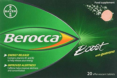 Berocca Boost Effervescent Tablets with Guarana, Caffeine & Vitamin B12, Also Contains Vitamin C & Magnesium, 3 Packs of 20 - 2 Months Supply