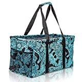 Extra Large Utility Tote Bag - Oversized Collapsible Reusable Wire Frame Rectangular Canvas Basket With Two Exterior Pockets For Beach, Pool, Laundry, Car Trunk, Storage - Paisley Blue