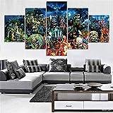 wodclockyui 5 Piezas Cuadro de Lienzo - Iron Maiden Rock Pintura 5 Impresiones de imágenes Decoración de Pared para el hogar Pinturas y Carteles de Arte HD 200cmx100cm Sin Marco