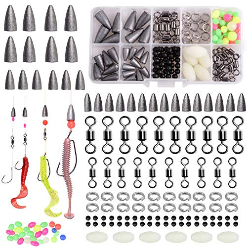 AGOOL Bass Fishing Tackle Kit - 175pcs Carolina Rig Texas Rig Kit Including Bullet Weights Rolling Swivel Fishing Beads Split Ring with Plastic Box for Bass Trout Salmon Perch Fishing Accessories