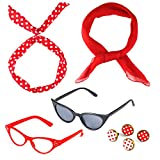 Beelittle 50's Costume Accessories Set 1950's Chiffon Scarf Cat Eye Glasses Bandana Tie Headband Drop Dot Earrings (Red)