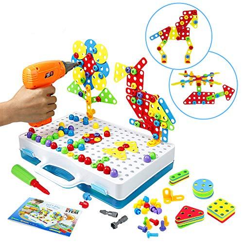 Symiu Trapano Giocattolo Costruzioni per Bambini - Giocattolo Chiodini 3D Puzzle STEM Giochi con Mosaico Bambini Giochi Creativi Regalo per Bambino 3 4 Anni