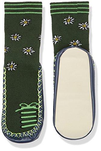 Playshoes Kinder-Hüttenschuhe aus Baumwolle, Hausschuhe für Mädchen und Jungen mit rutschhemmender Sohle, mit Blumen-Muster, Grün (Grün 29), 27-30
