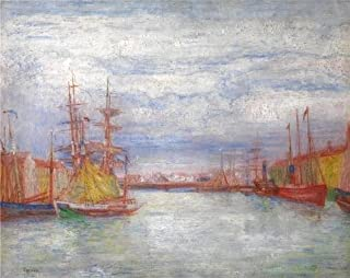 'James Ensor - Ostend Harbour' Oil Painting, 30x38 Inch / 76x96 Cm ,printed On Perfect Effect Canvas ,this Amazing Art Decorative Prints On Canvas Is Perfectly Suitalbe For Bar Decoration And Home Gallery Art And Gifts