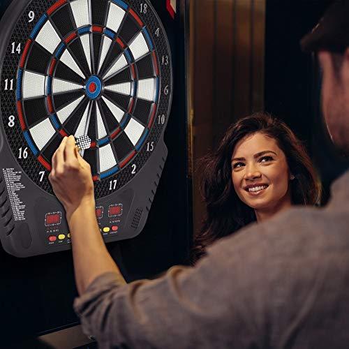 GJCrafts Elektronische Dartscheibe LED Digital Score Anzeige 27 Modi Bis zu 16 Spieler Hängende Dartscheibe Soft Dart Ziele mit Safety Dart Board Set für Indoor-Partyspiele