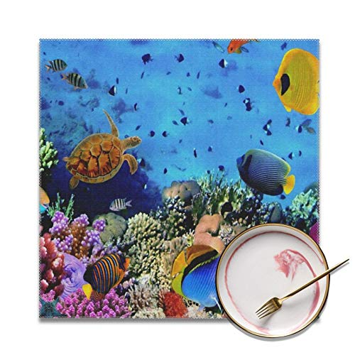 Square Table Placemats Ocean Coral Reef Sea Turtle Design Durable and Easy Clean Table Placements for Indoor Outdoor Home Use, KONANE