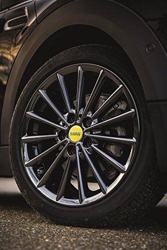 Mini véritable Centre de roue hub Cap couvertures Lot de 4 Jaune vif F55 F65 36132354151