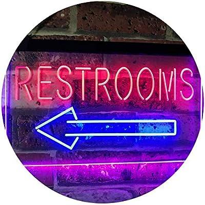 ADVPRO Restroom Arrow Point to Left Toilet Dual Color LED Neon Sign st6-j2685