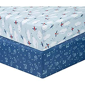 crib bedding and baby bedding sammy & lou 2 pack microfiber fitted crib sheets, airplanes