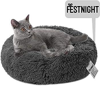 Festnight Panier Chien Chat Panière Paniere Coussin Lit Hiver Rond Peluche Grand pour Animal Domestique Chiot Chaton Minou, Ø 100 cm Dimension