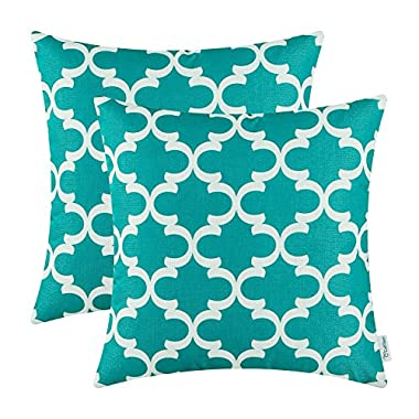 CaliTime Pack of 2 Soft Canvas Throw Pillow Covers Cases for Couch Sofa Home Decor Modern Quatrefoil Accent Geometric 18 X 18 Inches Teal