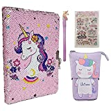 Unicorns Gifts for Girls-Sequins Diary with Lock Travel School Writing Notebooks, Cute Canvas Pencil Pen Case Pouch Bag Organizer,Unicorns Sticker Gel Ink Pen ,School Stationery 4pcs girls gifts set