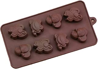 BESTONZON 8 agujeros de la abeja y la rana molde de pastel de chocolate de silicona