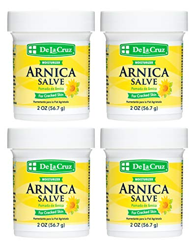 De La Cruz Arnica Salve, Foot Cream for Dry and Cracked Feet and Moisturizing Hand Lotion for Dry Hands, 24 Hour Moisture for Dry and Rough Skin - 2 OZ (4 Jars)