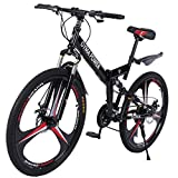 26in Mountain Bike for Adults,MKLEKYY Unisex Folding Outdoor Bicycle,Full Suspension MTB Bikes,Outdoor Racing Cycling,Double Disc Brake Bicycles,Magnesium Wheel,Fast-Speed Comfortable (Black)