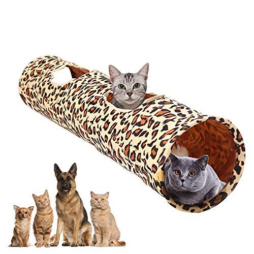 YOUNICER Leopardenmuster Katzentunnel Spielzeug Plüsch Klapp Pet Single-Pass Tunnel Tube Spielzeug Indoor Faltbarer Spieler