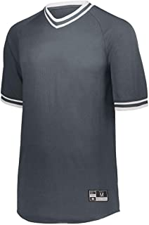 Holloway Sportswear Retro V-Neck Baseball Jersey M Graphite/White