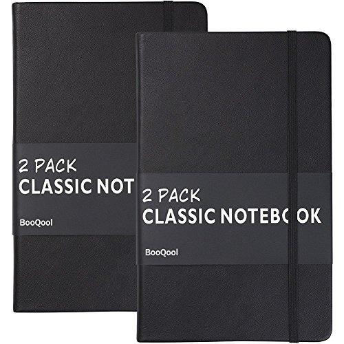 Liniert Notizbuch/Notizblöcke (2er Pack) - Premium Dickes Papier 120g / m², Kunstleder Schreibheft, Schwarz, Hardcover, Groß, Zeitschriften, Gefüttert (5 x 8,25) von Lemome