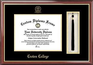 Laminated Visuals Crown College Storm - Embossed Seal - Tassel Box - Mahogany - Diploma Frame