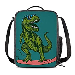 8. PrelerDIY Surfing Dinosaur Insulated Lunch Box Bag