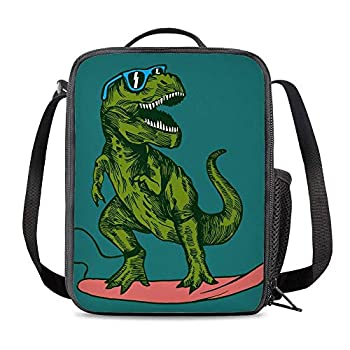 PrelerDIY Surfing Dinosaur Insulated Lunch Box Bag