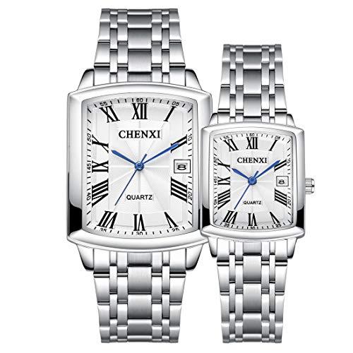 Allskid Pareja Relojes Mujer Hombres día de San Valentín Relojes Inoxidable Acero Correa de Reloj Rectangular Minimalista Marcar con Calendario Cuarzo Relojes de Pulsera (Un par, Blanco)