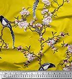 Soimoi Gelb Viscose Chiffon Stoff Blumen & Paradise Whydah