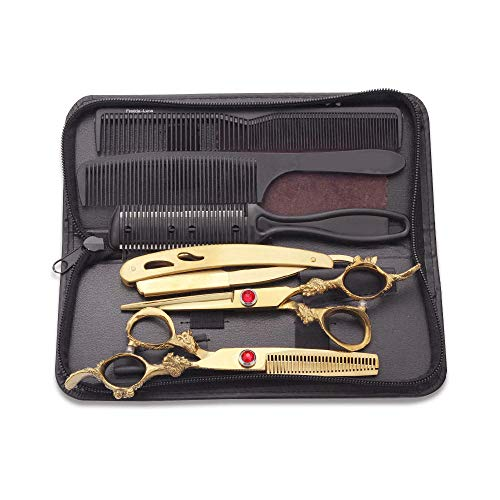 6,0 Zoll Gold Friseur Schere Set Friseur Schere Flachschere Liu Hai Schere Zähne Schere Ausdünnung