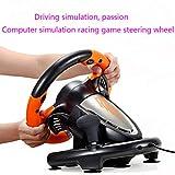 Racing Volante del Juego, La Conducción Simulada Volante Ordenador con Motor De Vibración Doble Y Pedales Sensibles PC / PS3 / 4 / Xbox One/Interruptor Compatible,Naranja