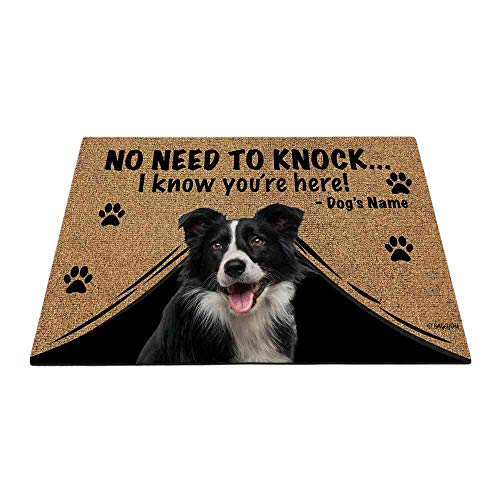 BAGEYOU Personalized Dog's Name Outdoor Doormat with My Love Dog Border Collie Welcome Floor Mat Not Need to Knock I Know You're Here 23.6' X 15.7'