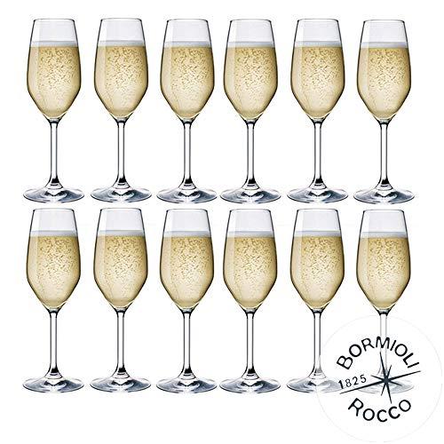 DIVINO collectie Bormioli Rocco - set van 12 fluitjes van Champagne & Prosecco - mod. DIVINO fluit 24, capaciteit: cl. 24 elegantie aan de tafel.
