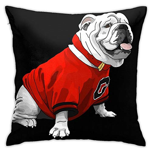 ZHUHOO UGA Bulldog Bedroom Couch Sofa Square Pillow Case Home Decorative Throw Pillow Covers 18x18 Inch