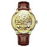 QZPM Herren Automatische Mechanische Armbanduhr Lederband Edelstahl Skeleton Analog Wasserdicht Beiläufig Geschäftsuhr,Gold