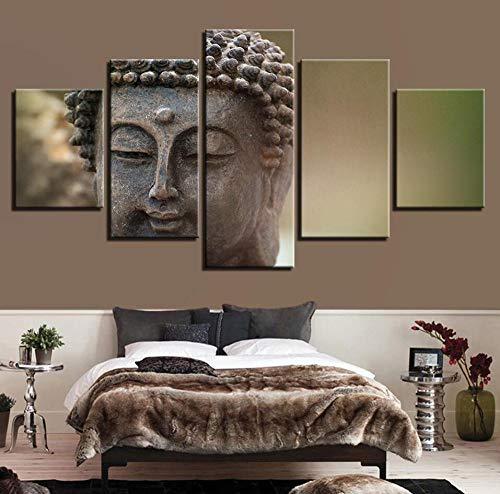 HNSYZS Obraz na płótnie 5-częściowy plakat i obrazy ścienne figurka ze statusem Buddy, nowoczesny obraz na ścianę dekoracja domu